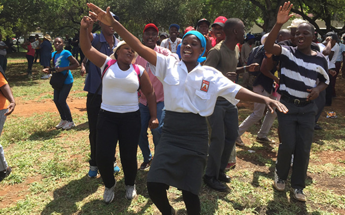 Students, cleaners and security guards protested outside Unisa's Pretoria campus, calling for an end to outsourcing. Picture: Vumani Mkhize/EWN.