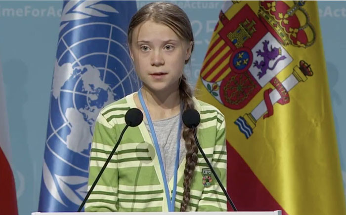 Climate change activist Greta Thunberg addresses the UN climate change forum (COP25) in Madrid on 11 December 2019. Picture: @Agent350/Twitter.