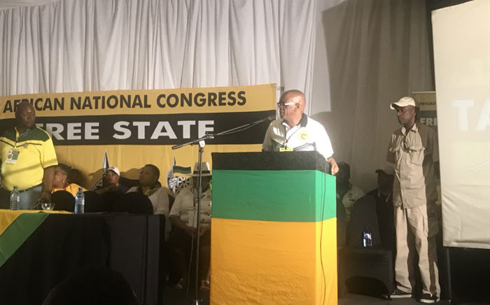 After a 10-hour delay,  Ace Magashule addresses delegates at the Free State (ANC) elective conference. Picture: Clement Manyathela/EWN