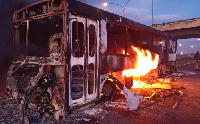 One of the Golden Arrow buses that was torched in Delft on 14 August 2020. Picture: Wayne Dyson, spokesperson for Cape Town law enforcement