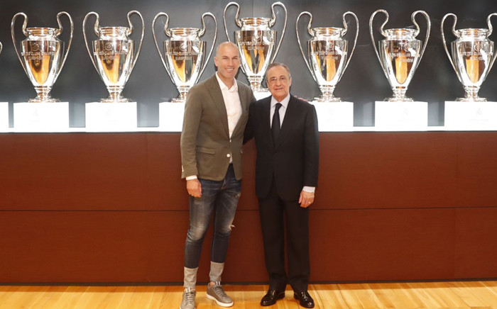 FILE: President of Real Madrid Florentino Pérez Rodríguez (R) and Zinedine Zidane. Picture: @RealMadrid/Facebook.com.