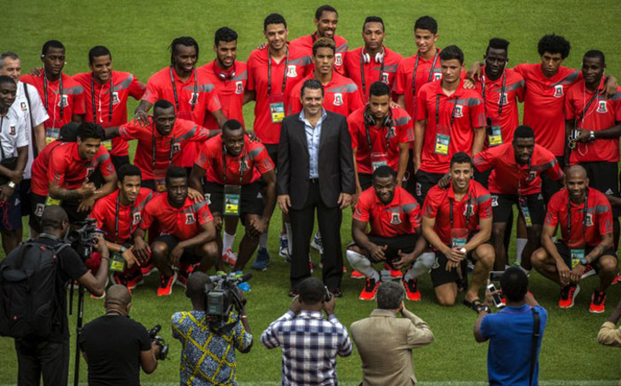 Equatorial Guinea's national team poses for a picture during a visit of the Bata stadium in Bata, Equatorial Guinea, on January 16. Picture: AFP