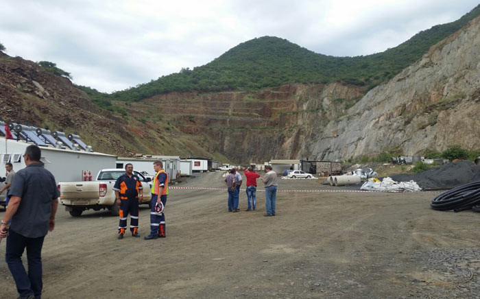 Outside the Lily Mine near Barberton in Mpumalanga where more than 100 workers are trapped underground. Picture: Lowveld Media/Barberton Times.