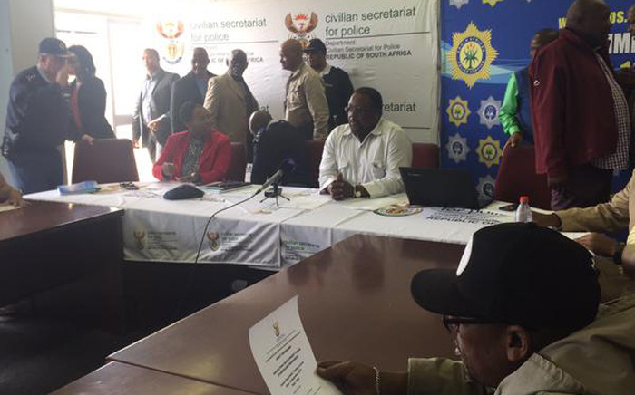 Police minister Nkosinathi Nhleko in Khayelitsha on 12 September 2015 to meet with community leaders. Picture: Monique Mortlock/EWN.