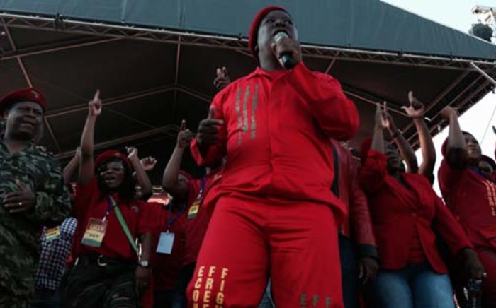 Julius Malema danced in front of the crowd at Sunday's EFF rally in Atteridgeville. Picture: Sebabatso Mosamo/EWN.