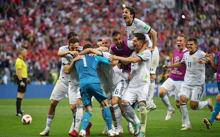 FILE: Russia players celebrate winning the penalty shootout. Picture: Facebook.com.