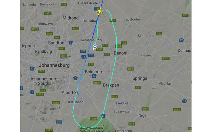 The aircraft flight path shows that immediately after take-off, it maintained altitude and circled around to land again. However, as it was to enter final approached went to cruise and head to Harare. Picture: Supplied.