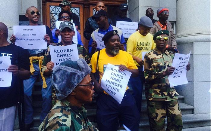 Umkhonto weSizwe Military Veterans Association members protest at the Western Cape High Court ahead of Janusz Walus' parole appeal on 12 April 2016. Picture: Siyabonga Sesant/EWN.