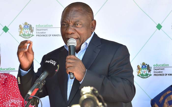 President Cyril Ramaphosa at the handover of the new Msunduzi athletics track to the local municipality and sports fraternity in Pietermaritzburg. Picture: GCIS.