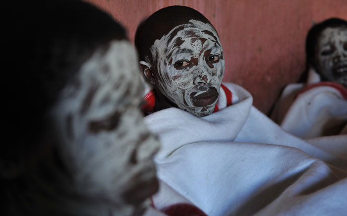 This file picture taken on 20 November 2008 shows young boys from the Xhosa tribe attending a traditional initiation school in Libode in the Eastern Cape province. Picture: AFP.