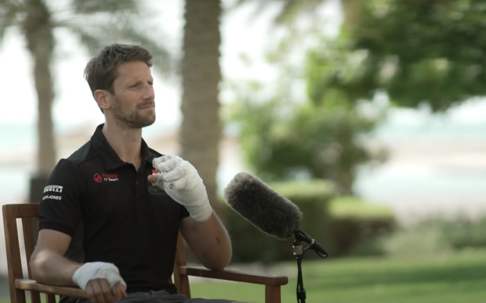 Romain Grosjean speaks to Sky F1 about his Bahrain Grand Prix crash. Picture: YouTube/ Sky Sports F1