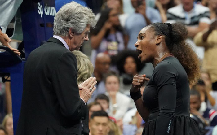 FILE: Serena Williams argues with referee Brian Earley during her Women's Singles finals match against Naomi Osaka of Japan at the 2018 US Open. Picture: AFP.