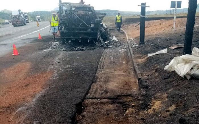 Mop-up operations got under way on Monday, 2 December 2019, following an accident between five trucks on Van Reenen's Pass on the N3. Picture: N3 Toll Concession.