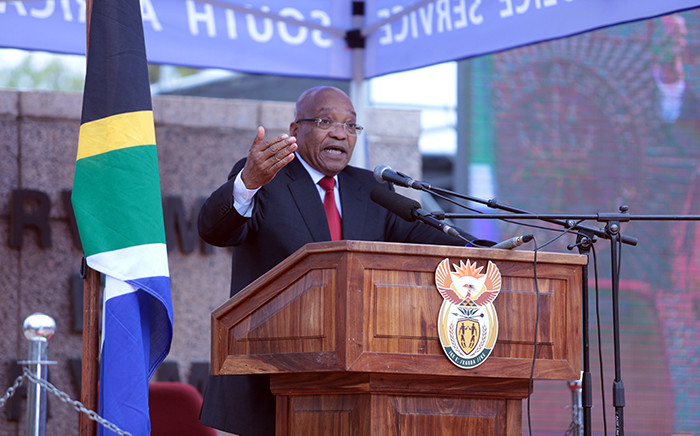 President Jacob Zuma paid tribute to police officers killed this year at the Union Buildings in Pretoria on 6 September 2015. Picture: Reinart Toerien/EWN