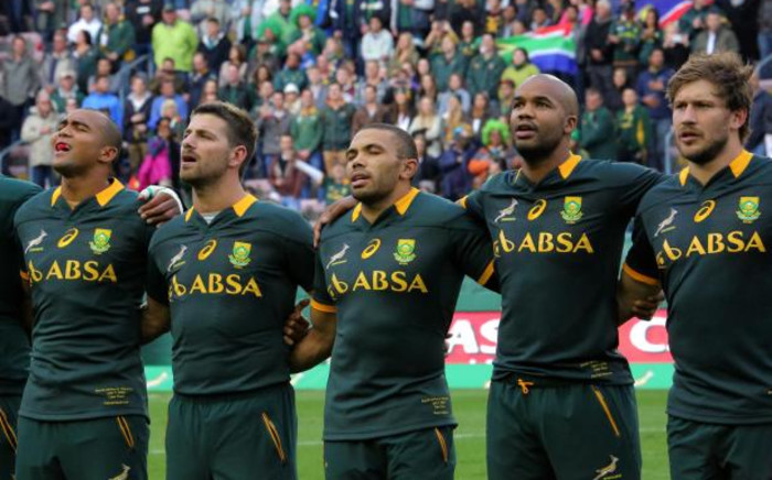 FILE: The Springboks sing the national anthem before the start of their clash against the World XV at Newlands on 7 June 2014.