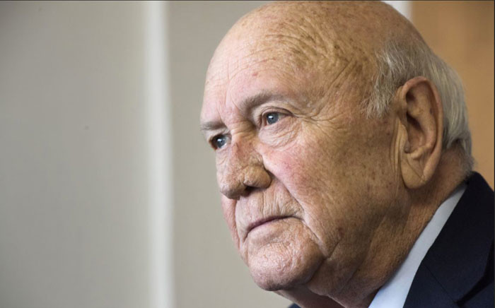 FILE: Frederik Willem de Klerk. Picture: AFP.