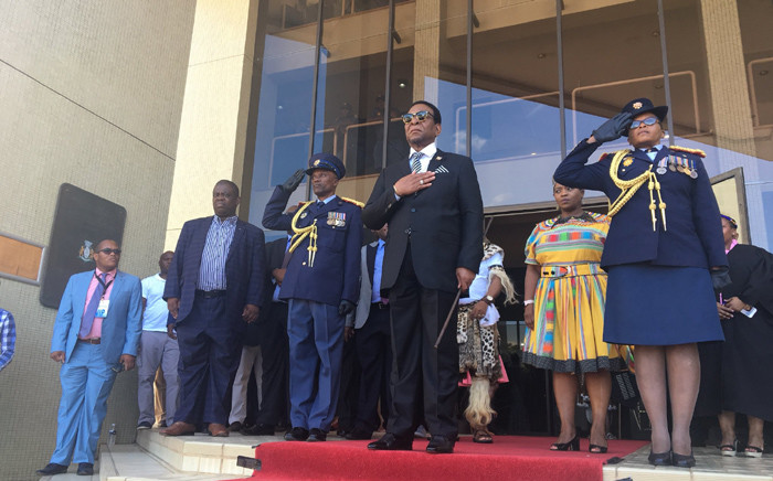 Zulu King Goodwill Zwelithini during the singing of the National Anthem before entering the old legislature building in Ulundi. Picture: Ziyanda Ngcobo/EWN