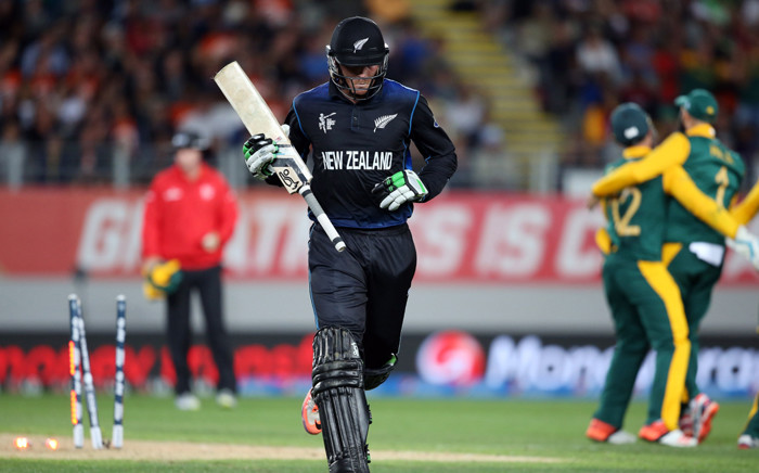 FILE: New Zealand's Martin Guptill is run out for 34 runs during the semi-final Cricket World Cup match between New Zealand and South Africa played at Eden Park in Auckland on 24 March, 2015. Picture: AFP.