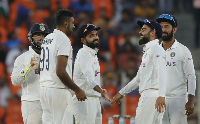 India players celebrate the fall of a wicket during the second day of the third Test match against England in Ahmedabad, India on 25 February 2021. Picture: @BCCI/Twitter
