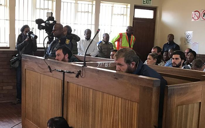 Pieter Doorewaard and Philip Schutte in the dock at Coligny Magistrates Court.  Picture: Kgothatso Mogale/EWN