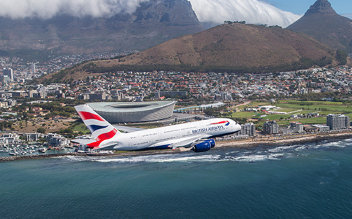 FILE: A British Airways' A380 flying over Cape Town. Picture: Supplied.