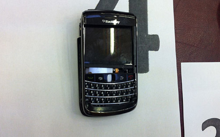 Anni Dewani's cell phone presented as evidence at the Western Cape High Court on 3 September 2012. Picture Nathan Adams/EWN
