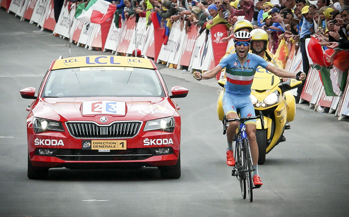 Stage winner Vincenzo Nibali (Astana), winner of the 2014 TDF won the stage after successfully breaking away from Froome in the final leg.