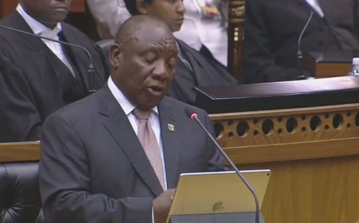 A screengrab of President Cyril Ramaphosa delivering his State of the Nation Address in the National Assembly in Parliament on 7 February 2019.
