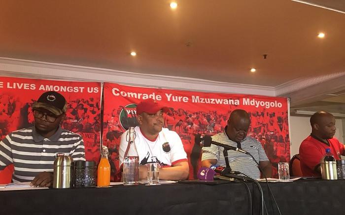 Nehawu leadership briefing the media on the impending national strike at Sassa offices. Picture: Thando Khubeka/EWN