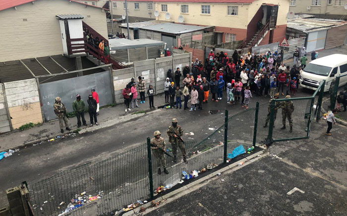 The SANDF arrived in Manenberg on 18 July 2019, as part of an anti-crime operation in gang-plagued areas on the Cape Flats. Picture: Kaylynn Palm/Eyewitness News.