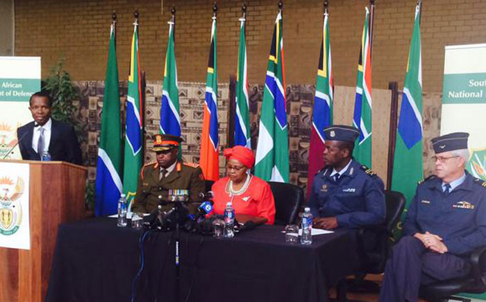 Defence Minister Nosiviwe Mapisa-Nqakula clarifies lease of a Gupta owned jet for a government delegation. Picture: Dineo Bendile/EWN.
