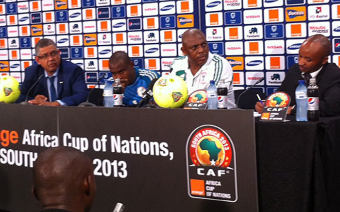 Nigerian coach Stephen Keshi and captain Joseph Yobo during a press conference. Picture: Lelo Mzaca/EWN