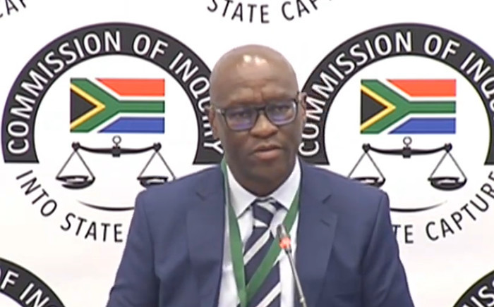 A screenshot shows SABC CEO Madoda Mxakwe at the state capture inquiry on 3 September 2019.