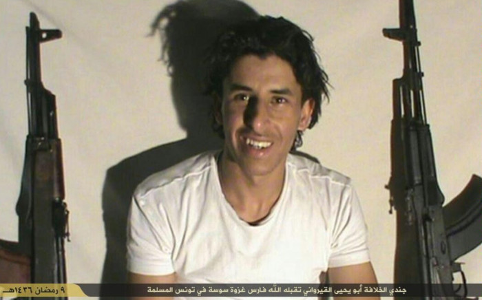 An undated image made available on Twitter by the Tunisian branch of the Islamic State group on 27 June 2015 reportedly shows the gunman who carried out the bloody attack on the Riu Imperial Marhaba Hotel in the Tunisian resort city of Sousse. The IS group identified the man by the nom de guerre of Abu Yahya al-Qayrawani. According to Tunisias secretary of state for security, Rafik Chelly, the presumed gunman identified as Tunisian student Seifeddine Rezgui. Picture: AFP.