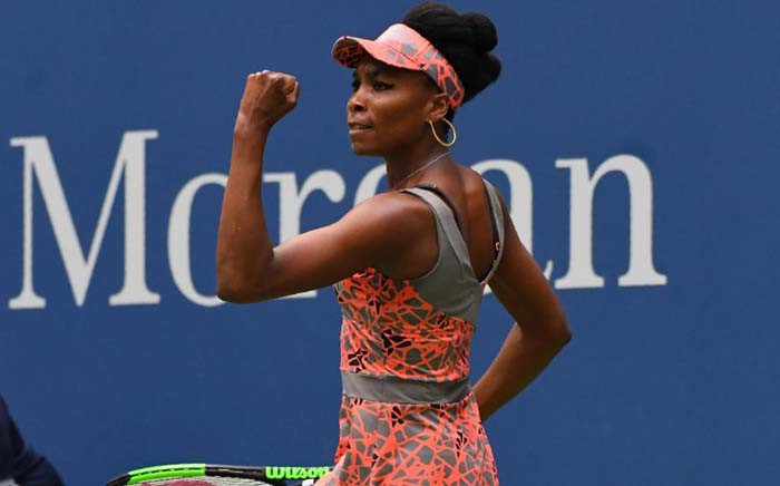 Venus Williams reacts after beating Viktoria Kuzmova of Slovakia on day one of the US Open tennis tournament. Picture: @usopen/Twitter.