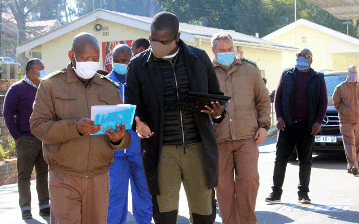 Justice Minister Ronald Lamola and regional commissioner Delekile Klaas are seen at the Malmesbury Prison on 25 July 2020 after 69 inmates escaped on Friday, 24 July. Picture: Supplied.