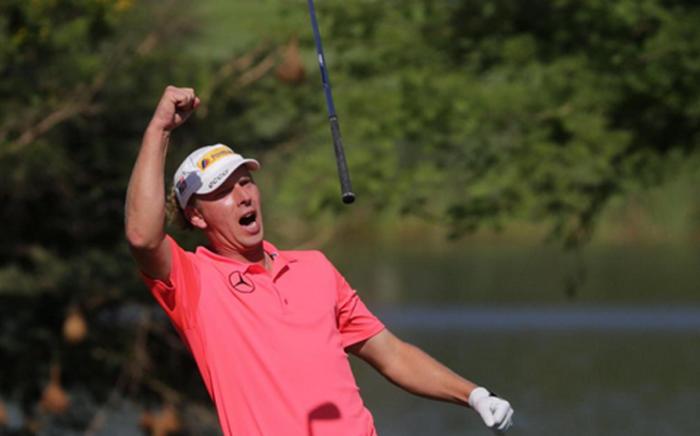 Marcel Siem reacts after scoring an eagle on 4 December 2014. Picture: Sun International Golf Twitter.