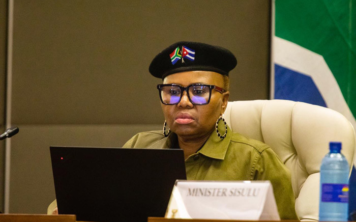 Minister of Social Development Lindiwe Zulu at an inter-ministerial briefing on 24 March 2020 detailing how government will respond ahead of and during the 21-day lockdown announced by President Cyril Ramaphosa. Picture: Kayleen Morgan/EWN.