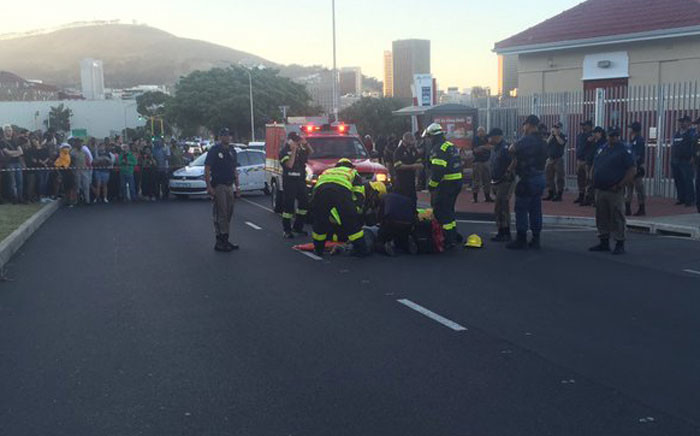 Students are saying one of the protesting students have been knocked by a car. Picture: Monique Mortlock/EWN.