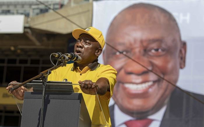 President Cyril Ramaphosa addresses thousands at the ANC Siyamnqoba rally at Ellis Park in Johannesburg. Picture: Thomas Holder/EWN