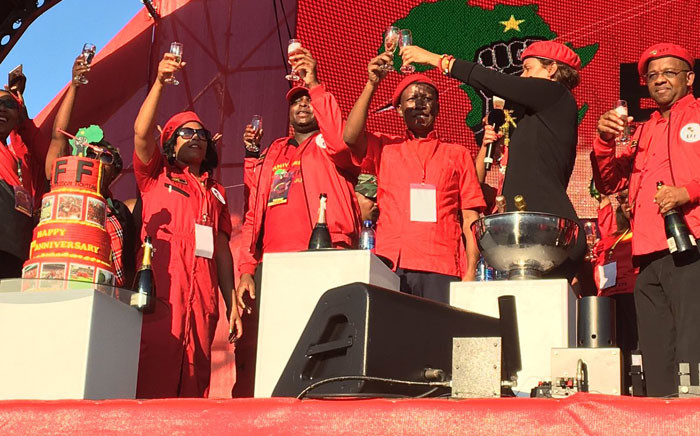 Economic Freedom Fighters (EFF) leadership on stage during the party's fourth anniversary celebration in Durban. Picture: Ziyanda Ngcobo/EWN.
