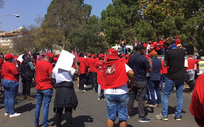Members are gathered outside the union buildings to handover their list of demands. Picture: Kgomotso Modise/EWN