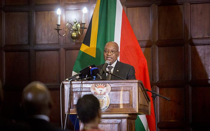 President Jacob Zuma addresses the audience ahead of the swearing in ceremony of his new cabinet on 31 March 2017 in Pretoria. Picture: Reinart Toerien/EWN