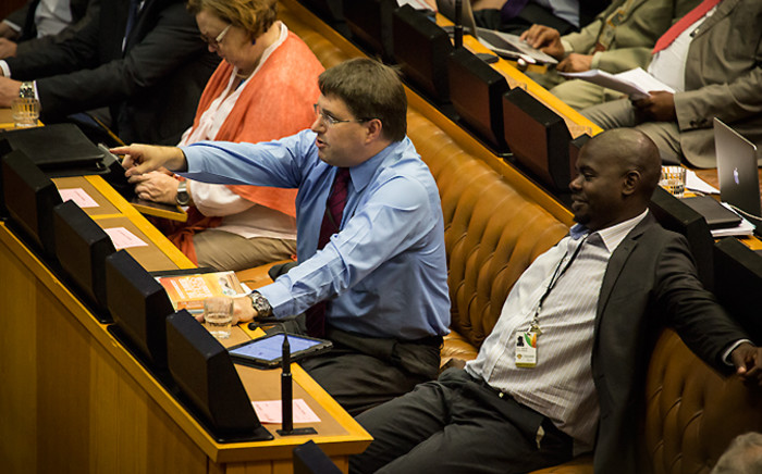 DA MP David Maynier gestures at Deputy President Cyril Ramaphosa during a question and answer session in Parliament on 19 November 2014. Picture: Aletta Gardner/EWN