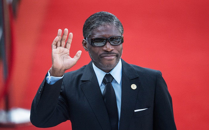 Vice President of Equatorial Guinea Teodoro Nguema Obiang Mangue gestures while arriving at the Loftus Versfeld Stadium in Pretoria, South Africa, for the inauguration of Incumbent South African President Cyril Ramaphosa on May 25, 2019. Picture: Michele Spatari / AFP