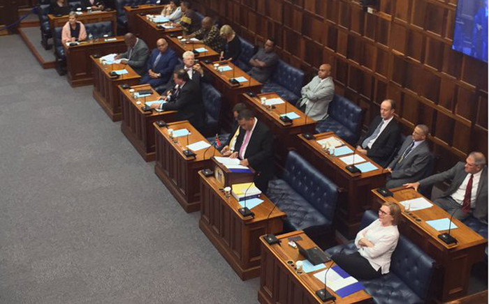 Western Cape Finance MEC delivering the provincial budget for the 2015/16 financial year in the Western Cape Legislature. Picture: Xolani Koyana/EWN.