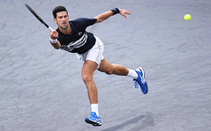 Novak Djokovic in action at the Paris Masters in Paris on 30 October 2019. Picture: @atptour/Twitter