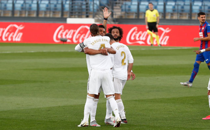Real Madrid players celebrate a goal against Eibar during their La Liga match on 14 June 2020. Picture: @realmadriden/Twitter