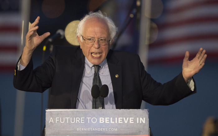 FILE: Democratic presidential candidate Bernie Sanders addresses a rally on 18 April, 2016 in New York. US presidential hopefuls are making last-minute pitches in New York on the eve of the state's most decisive primary in decades. Picture: AFP.