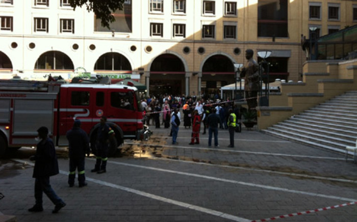 re engines on the scene of a restaurant fire in Nelson Mandela Square, Sandton. Picture: Wayne Gulan/iWitness